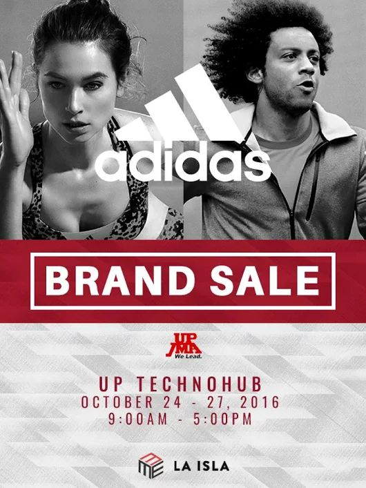 UP JMA and Adidas bring you LA ISLA BRAND SALE!  Shop and score up to 40% OFF on all items!  Promo available October 24 – 27, 2016 from 9AM to 5PM at UP Ayala Land Technohub.  For more promo deals, VISIT http://mypromo.com.ph/! SUBSCRIPTION IS FREE! Please SHARE MyPromo Online Page to your friends to enjoy promo deals!