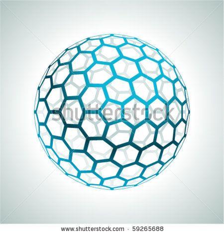 Abstract hexagonal 3d sphere vector background - stock ...
