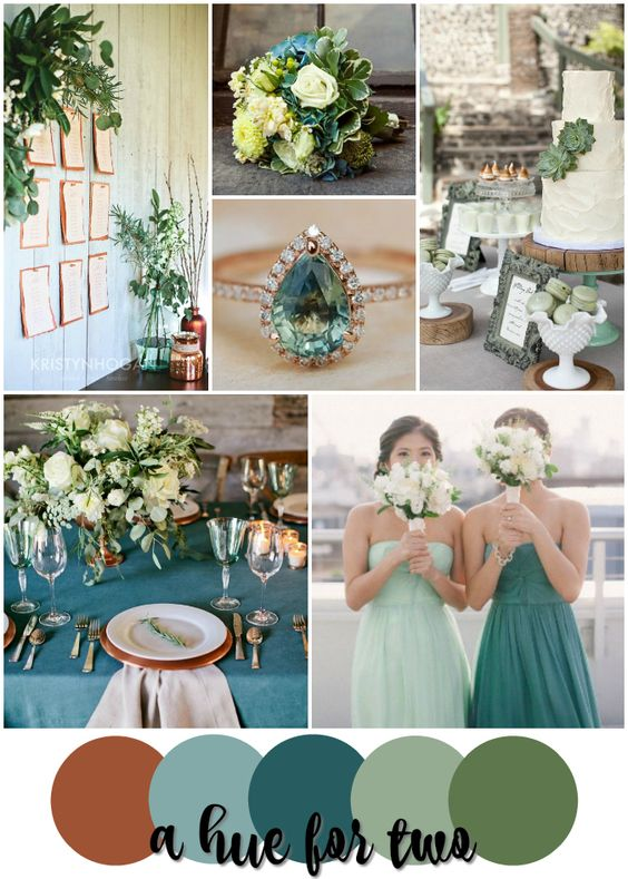Rustic wedding colors copper and teal on pinterest - Country blue color scheme ...