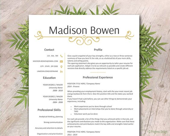 Instant Download Resume with Cover Letter Template, Modern Resume - job reference page template