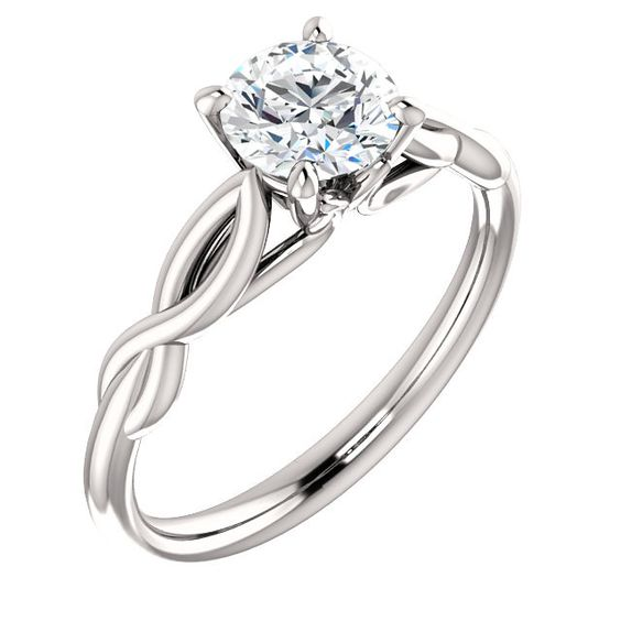 14kt White Gold 6mm Round Forever One Moissanite Solitaire Engagement – Sparkle & Jade