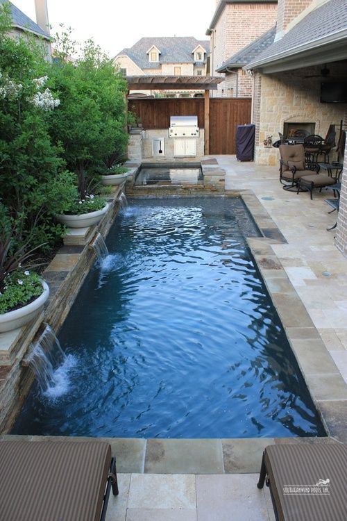 Geometric Pool With Stacked Stone Edging Backyard Pool Designs Small Backyard Pools Small Pool Design
