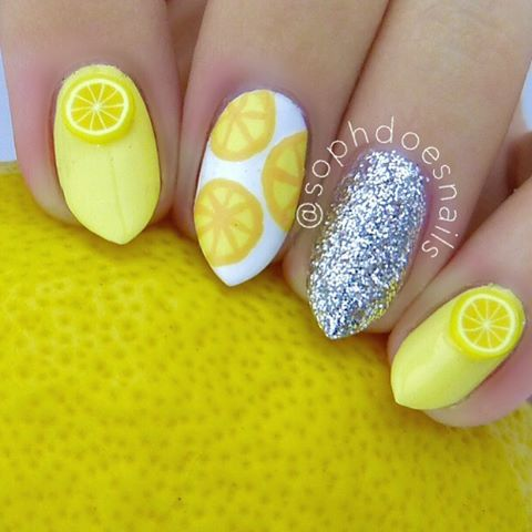 Lemon Nails by Instagrammer @sophdoesnails