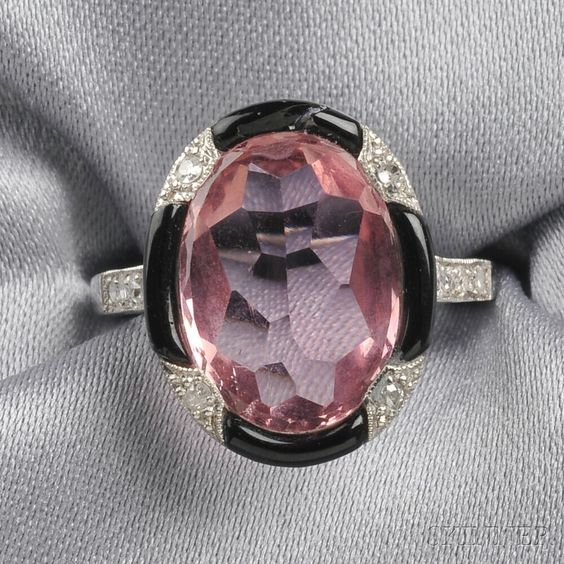 Art Deco Platinum, Pink Tourmaline, Onyx, and Diamond Ring | Sale Number 2641B, Lot Number 209 | Skinner Auctioneers