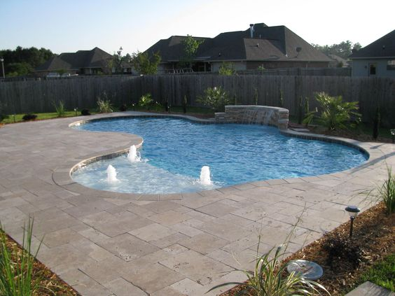 Inground pool with waterfall and chair ledge - Crystal pools waterfall ...