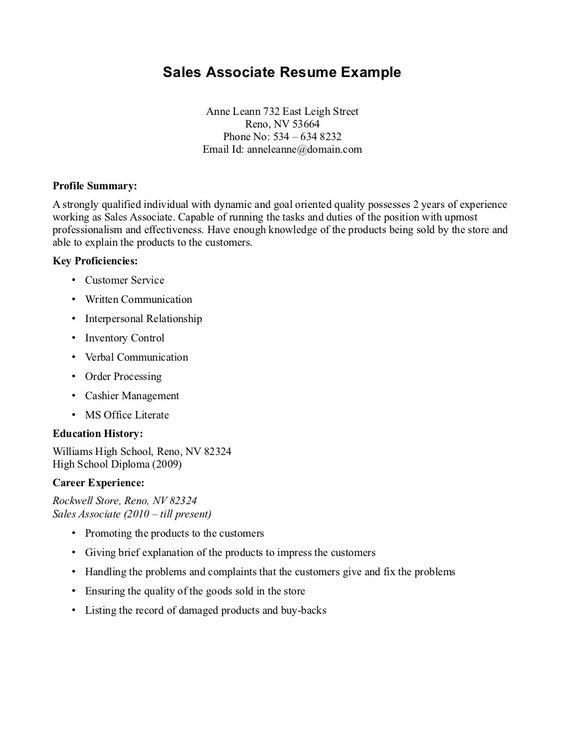 Sales Associate Resume Resume Template Format Retail Resume Sales Resume Examples Resume Examples