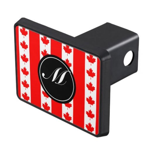 Canada Flag Pattern and Monogram Trailer Hitch Cover