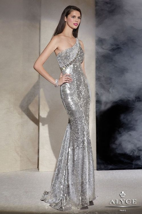 Silver sequins gown by Alyce Paris