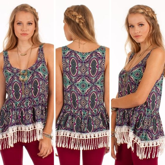 This fun top will add a little color to your summer wardrobe! Pair with the Dazed and Confused pants for the complete look! | Venice - $54.50 | http://sophieshoes.com/products/venice #sophieshoesjoplin #othersfollow #springfashion #spring2015