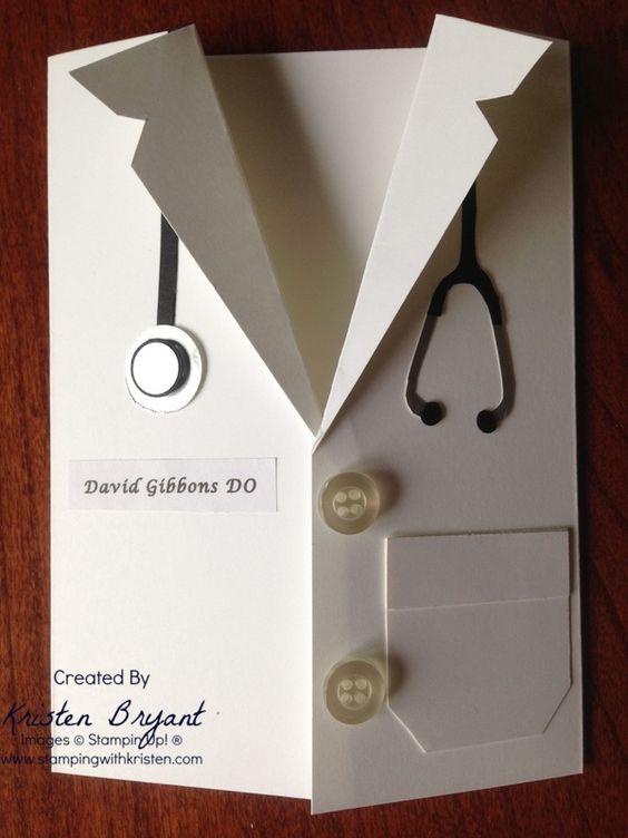 Medical School grad card, white coat card, Punch Art, www.stampingwithkristen.com