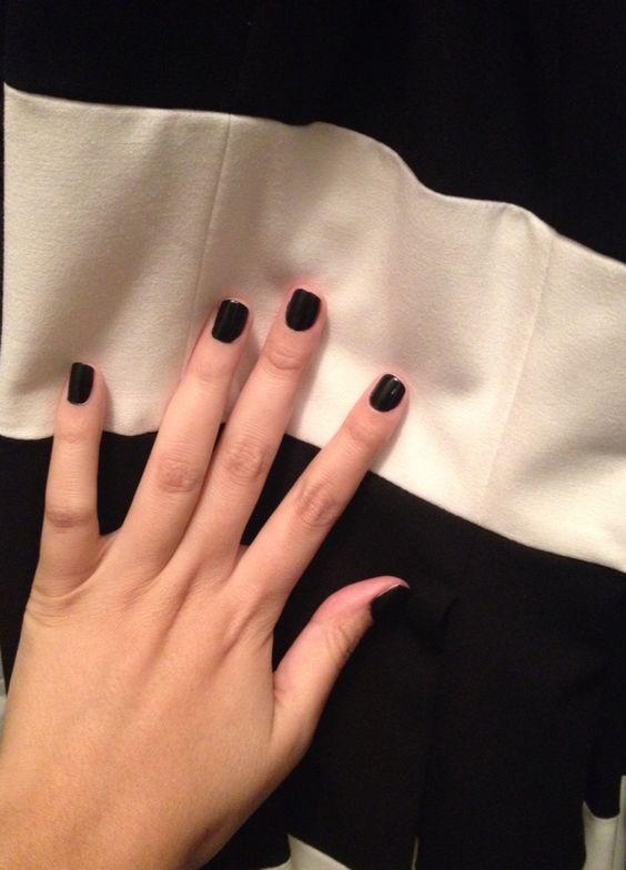 Stripes and Black Nail Polish