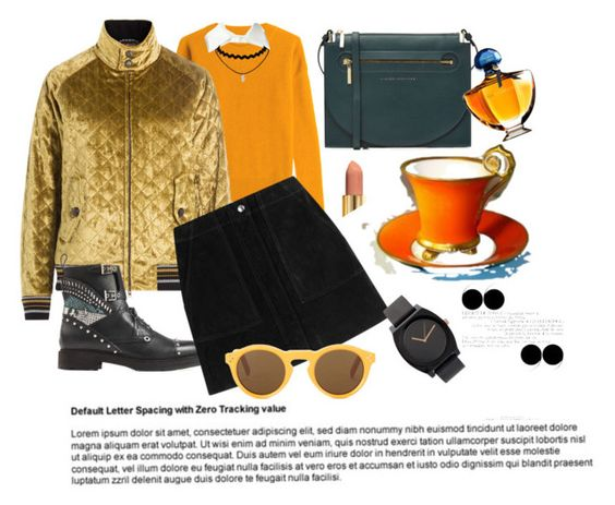 """золотой бомбер и замшевая юбка"" by natali26-72 ❤ liked on Polyvore featuring Closed, Maison Margiela, Victoria Beckham, Fendi, rag & bone, Hermès, See by Chloé, Guerlain and CÉLINE"