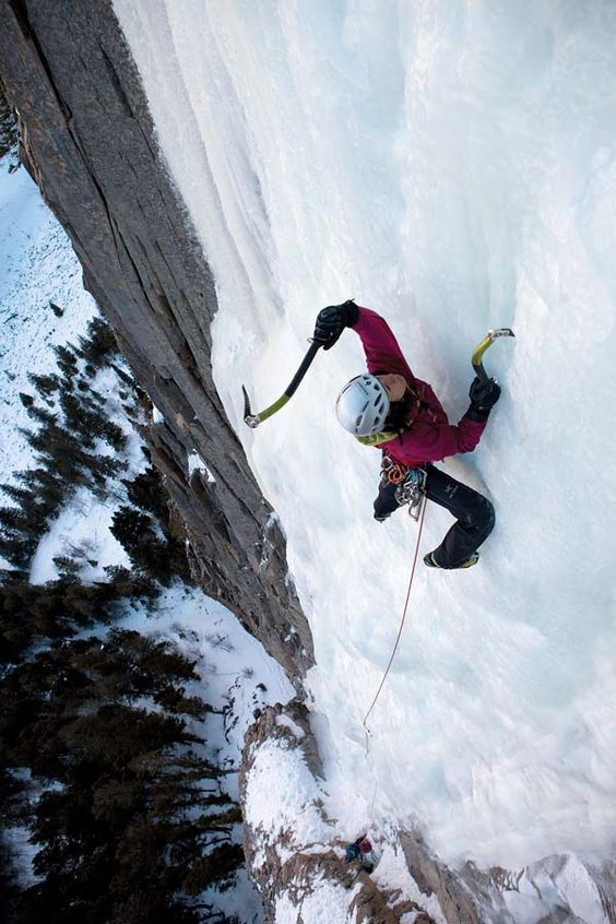 Last ice screw is a long ways down - photo by Andrew Burr, 2010 #climbing #iceclimbing