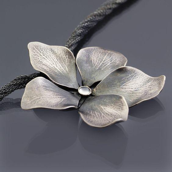 Sterling Silver Moonstone Blossom Necklace by Lisa Hopkins Design