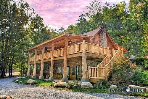 """Our latest addition """"Down the Creek"""" is located approximately 20 minutes from downtown Gatlinburg and is large enough to accommodate 12 people. This lovely 4 bedroom, 4 bath, cabin offers 3 king beds, 2 queen beds, and a sleeper sofa. Other features include several Jacuzzi tubs, outside hot tub, pool table, fully equipped kitchen with washer and dryer, flat screen TV's, wood burning fireplace, and 2 barbeque grills."""