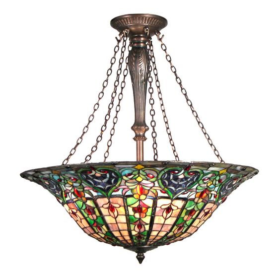 Meyda Tiffany Custom 12626 4-Light Bella Classic Bowl Large Pendant, Mahogany Bronze