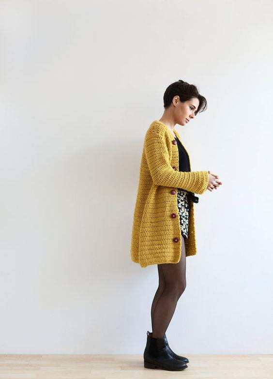 Crochet de veste kimono moutarde (modèle PDF à télécharger)