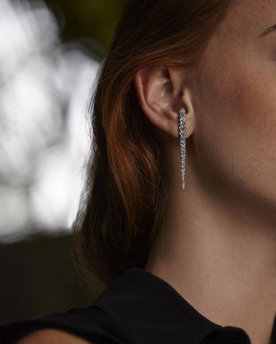 Inverted White Diamonds Whip Single earring. #WhipEarring #InvertedDiamonds…