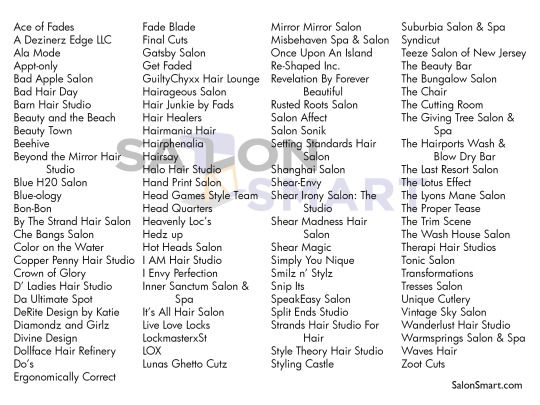 100 Catchy Hair Salon Names Salon Stuff Hair Salon Names Salon