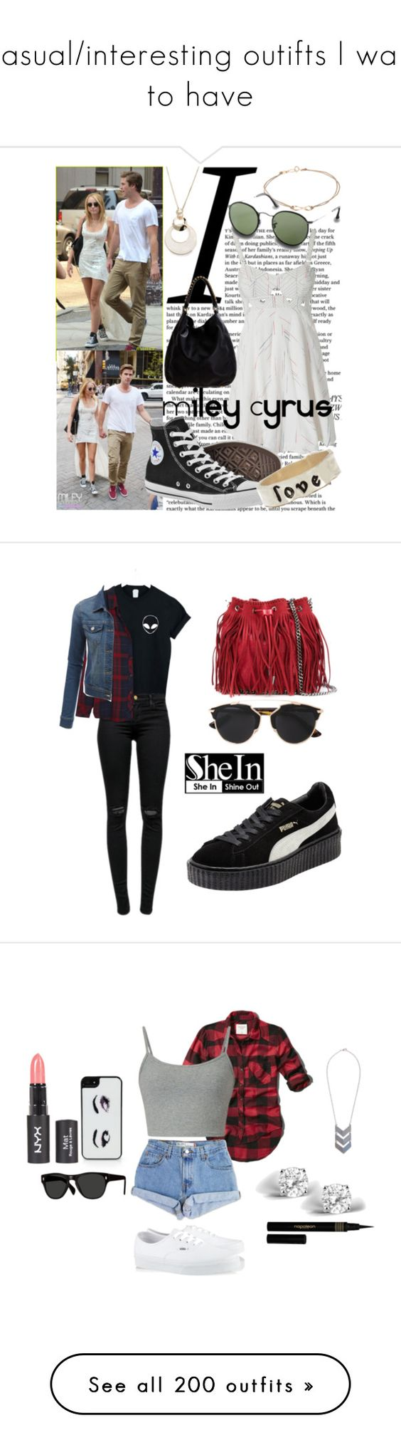 """Casual/interesting outifts I want to have"" by blueberryqueen ❤ liked on Polyvore featuring Cyrus, Free People, Converse, Poupette, Linea Pelle, Ray-Ban, Rebecca, River Island, WithChic and J Brand"