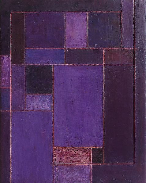 Royal Violet by Stephen Cimini. A monochromatic painting using oil paint, wax medium and marble dust to create organic surfaces within a geometric composition. Find it at www.artfulhome.com