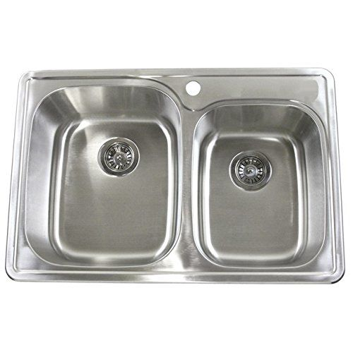 33 Inch Stainless Steel Top Mount 60 40 Double Bowl Kitchen Sink And A Top Mount Kitchen Sink Double Bowl Kitchen Sink Stainless Steel Double Bowl Kitchen Sink