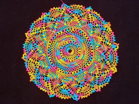 Fiesta Doily pattern...not your typical doily....so colorful!