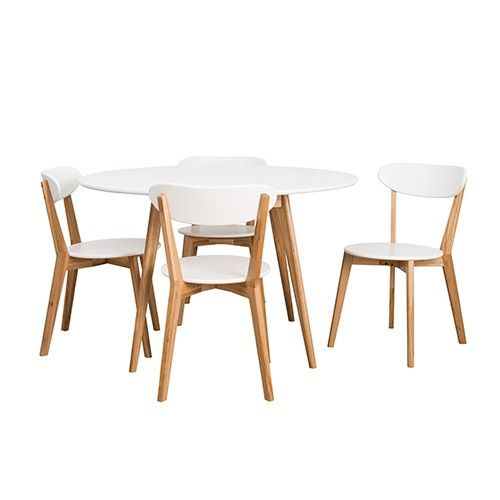 Oslo 5pce Round Dining Set White Milan Direct property