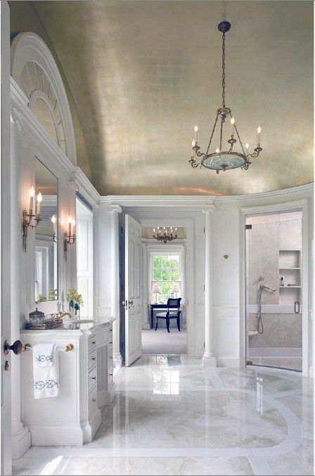 bathroom design. tiles, stone. marble. wallpaper, shower. bathtub. ceiling. lighting. glass. sanitary fittings and fixtures.: Marble Floor, Luxury Bathroom, Bathroom Idea, Beautiful Bathroom, White Bathroom, Metallic Ceiling, Master Bathroom