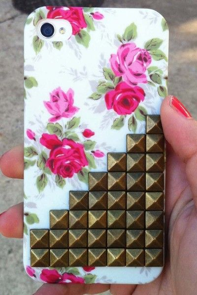 floral studded iPhone case