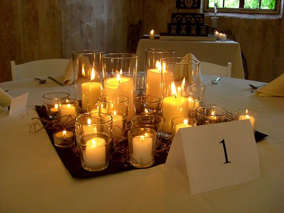 Wedding candle cluster for round reception tables
