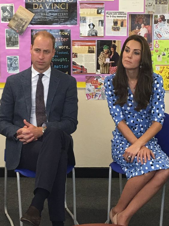"""Rebecca English on Twitter: """"William and Kate listen to parents talking about how much @StewardsAcademy has done for their children."""