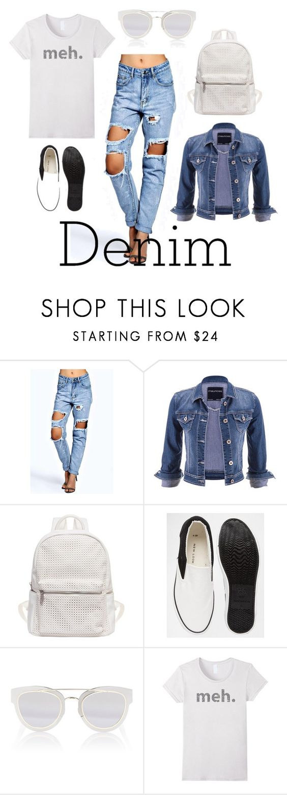 """""""Double Down on Denim"""" by pippi-dust ❤ liked on Polyvore featuring Boohoo, maurices, Urban Originals, Christian Dior and Denimondenim"""