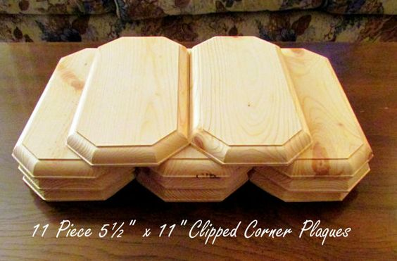 """11 Piece 5.5"""" x 11"""" Crafters Unfinished Wood Clipped Corner Plaques Signs Bases"""