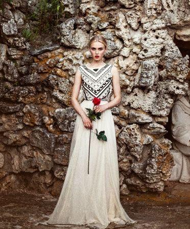 Black Beaded Bodice Gown / Mara Hoffman