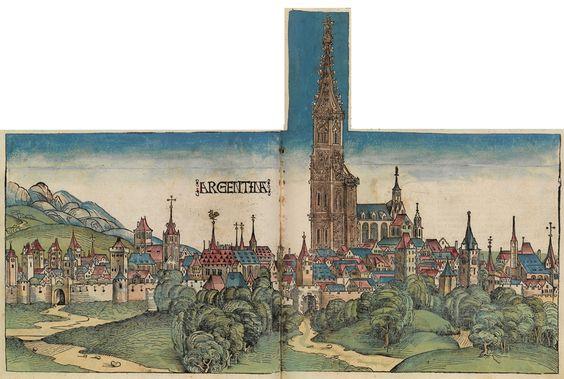 Vue de Strasbourg (Alsace) en 1492