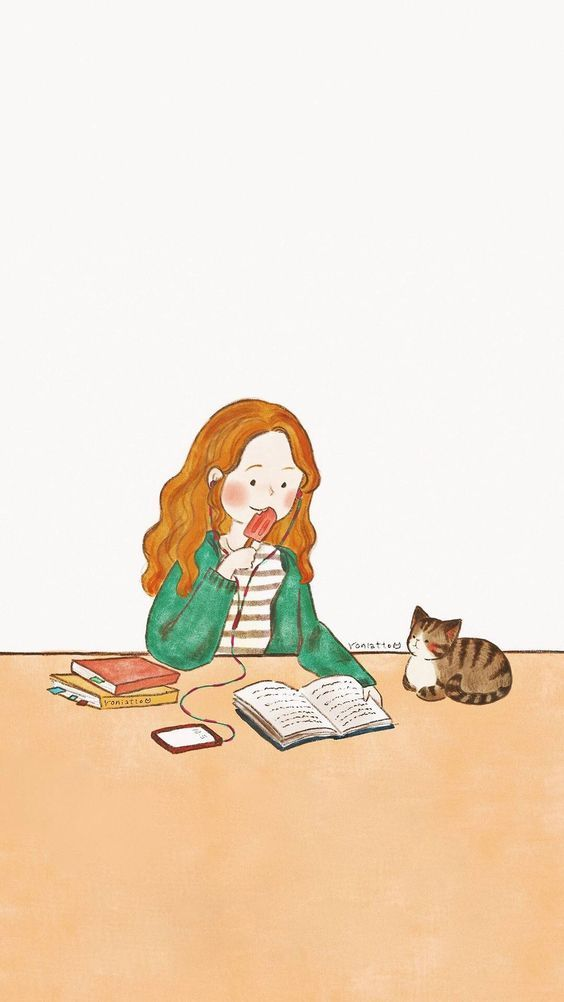 Study Time With A Cat Studying With A Cat Illustration Cute