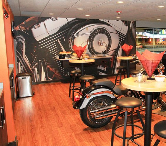 custom wall mural we printed for the harley davidson suite