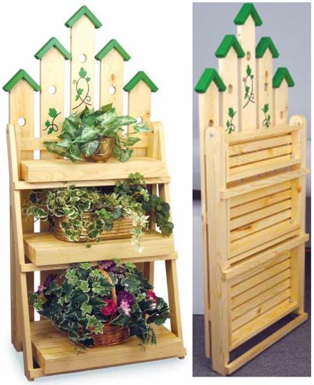 19 w2883 picket ladder plant stand woodworking plan bird house things pinterest - Ladder plant stand plans free ...