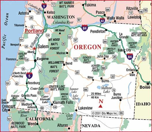 httporegonsouthernoregonattractions – Oregon Tourist Map