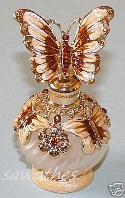 Butterfly Top Beige Enamel Amber Crystal Glass Perfume Bottle.