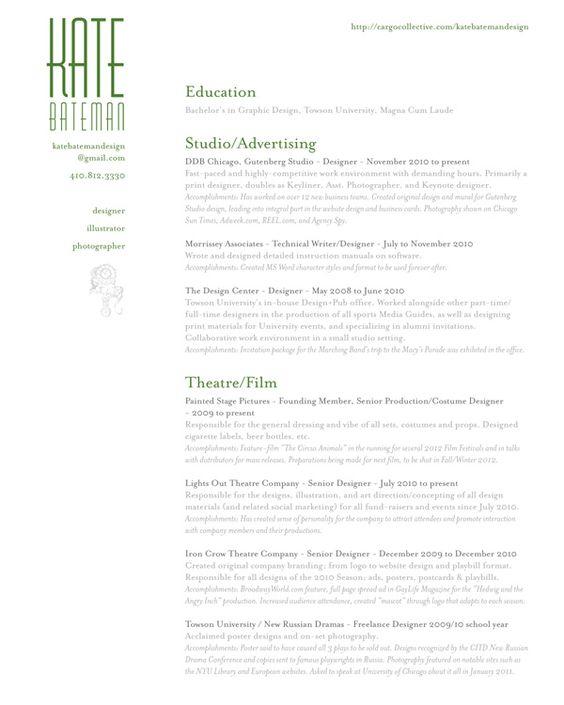 graphic design resume - Google Search Design Resumés Pinterest - costume designer resume