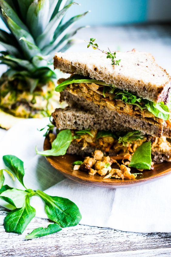 Caribbean Jerk Chickpea Salad Sandwich: