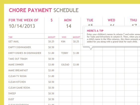 Chore payment schedule templates little for Allowance chart template
