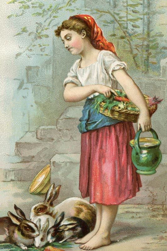 """printable vintage Victorian Era Girl Feeding Rabbits ... """"I absolutely LOVE this image, as it is very Easter-ish without being overtly Easter-ish. Yeah, that made sense. This vintage art comes from a Victorian Era advertising trade card & features a peasant farm girl holding fresh vegetables & feeding a nest of rabbits. It was used to advertise Niagra Starch at the time (late 1800′s)."""""""