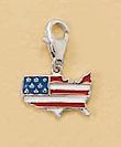 """""""Rhodium/Red, White, Blue Enamel Plated Sterling Charm, American Flag, Lobster Clasp, 3/4 in"""""""