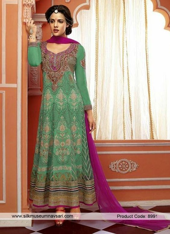 Alluring Sea Green Colour And Net Designer Anarkali Suit