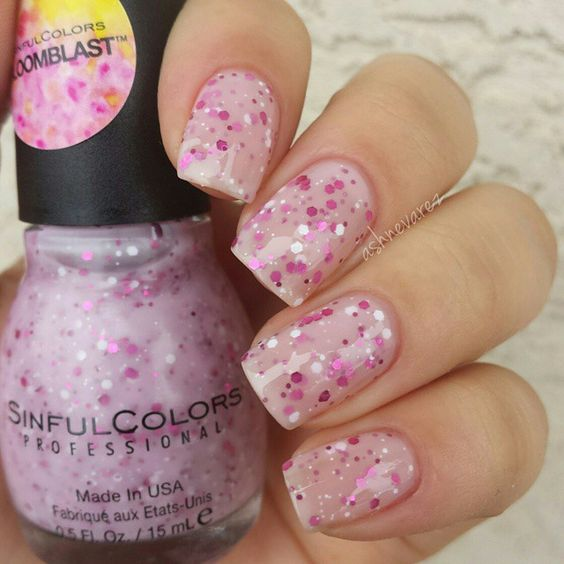 sinful colors bloomblast flower power baby pink with white fuchsia glitter nail - Vernis Sinful Colors