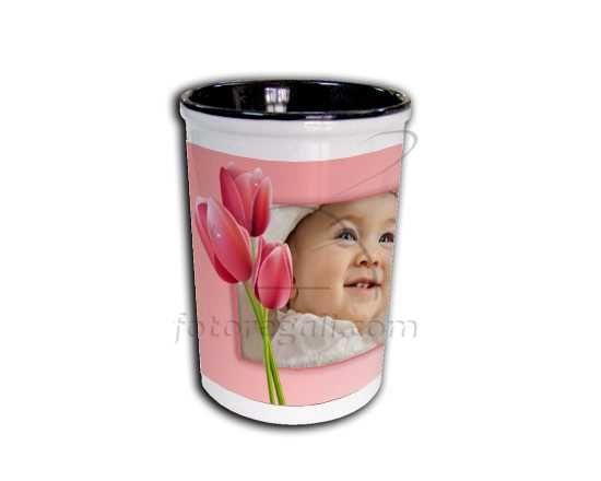 Portapenne in ceramica Tulipani rosa