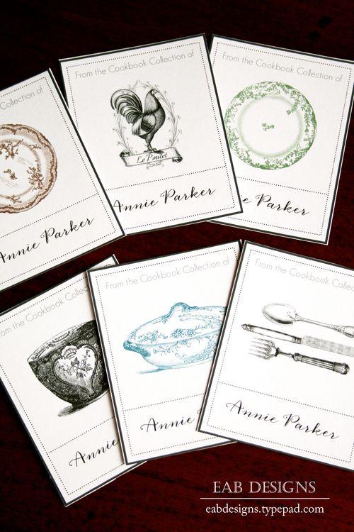 free printable vintage style bookplates for cookbooks kitchen cooking tips pinterest. Black Bedroom Furniture Sets. Home Design Ideas